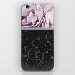 Light Purple Flower Meets Gray Black Marble #1 #decor #art #society6 iPhone Skin