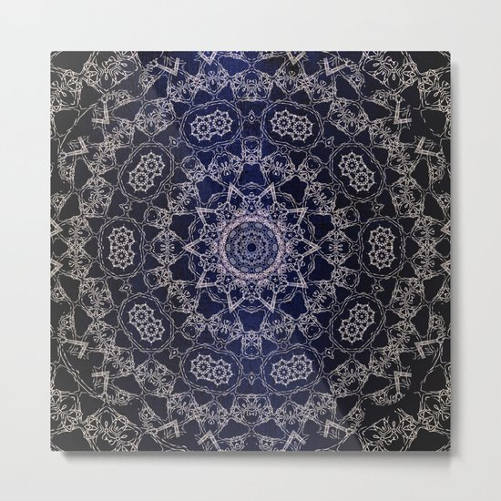 Glowing Nirvana Mandala On Deep Blue Textured Background Metal Print