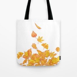 falling yellow leaves watercolor Tote Bag