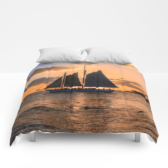 Sunset Sail and Plane Comforters