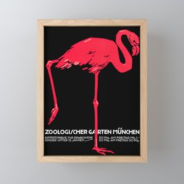 Vintage Pink flamingo Munich Zoo travel ad Framed Mini Art Print