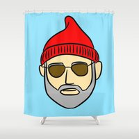 zissou Shower Curtains featuring Steve Zissou by CozyReverie
