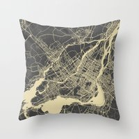 montreal Throw Pillows featuring Montreal Map by Map Map Maps