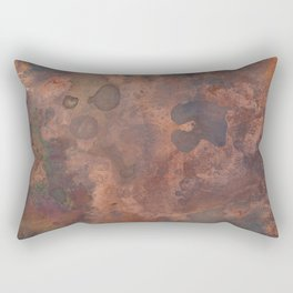 Tarnished, Stained and Scratched Copper Metal Texture Industrial Art Rectangular Pillow