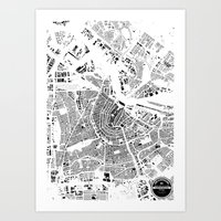 amsterdam Art Prints featuring AMSTERDAM by Maps Factory