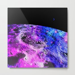 Purple Blue Galaxy Moon Metal Print