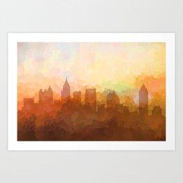 Atlanta, Georgia Skyline - In the Clouds Art Print