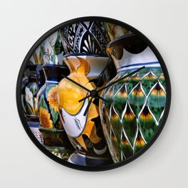Mexican ceramic hand painted flower pots Wall Clock