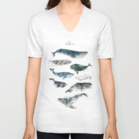 jazzberry blue V-neck T-shirts featuring Whales by Amy Hamilton