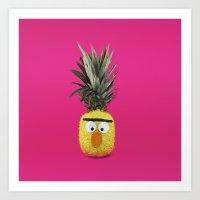 sesame street Art Prints featuring Bert - Sesame Street Pineapple by SandraSuarez
