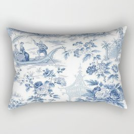 Powder Blue Chinoiserie Toile Rectangular Pillow