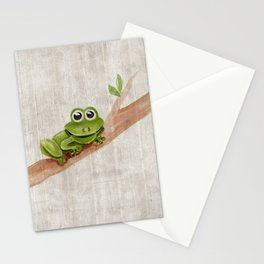 Little Frog, Forest Animals, Woodland Critters, Tree Frog Illustration Stationery Cards