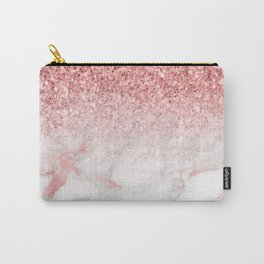 Rose-gold faux glitter and marble ombre Carry-All Pouch
