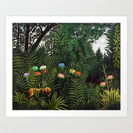 Jungle with Tiger and Hunters by Henri Rousseau Art Print