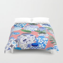 Coral pink Chinoiserie Chinese ginger jars... Duvet Cover