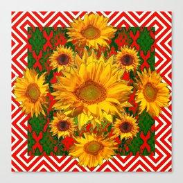 Western Red-White Golden Sunflowers Green Pattern Art Canvas Print