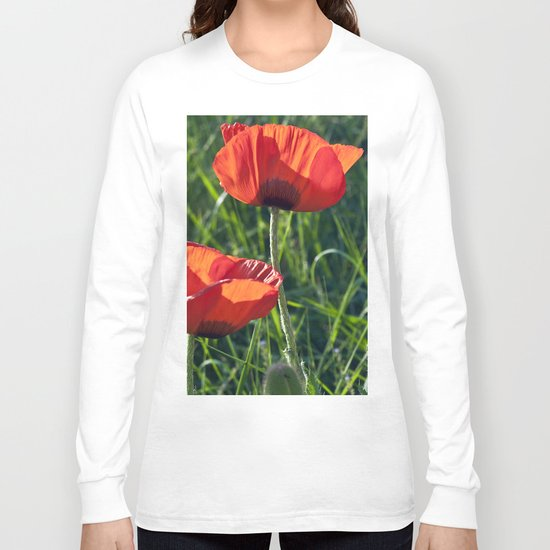 Red Poppies on the summer meadow Long Sleeve T-shirt