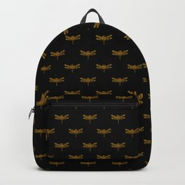 Golden Dragonfly Repeat Gold Metallic Foil on Black Backpack