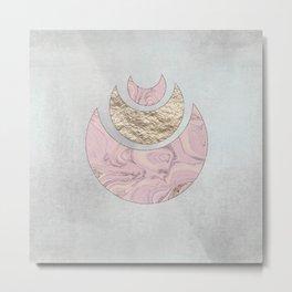 Elegant Pastel Rose Gold Marble Half Moon Design Metal Print