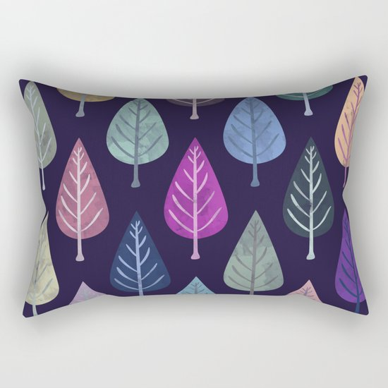 Watercolor Forest Pattern IV Rectangular Pillow