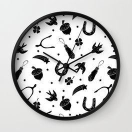 A Little Luck - on white Wall Clock