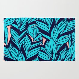 Blue Banana Leaf Pattern Rug