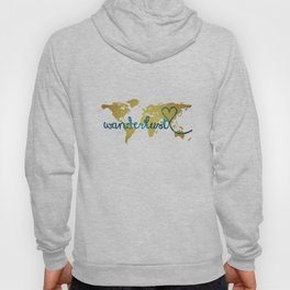 Wanderlust Gold Foil Map with Teal Glitter Text Hoody