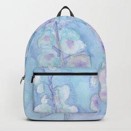 Pale Blue Hollyhock Foxglove Minimalist Watercolor Backpack