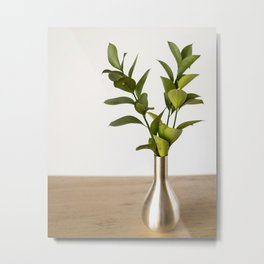 Green Green Leaves Vase Variation | Nature Photography - Plants & Botanicals Metal Print