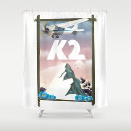 K2 Mountain travel poster. Shower Curtain