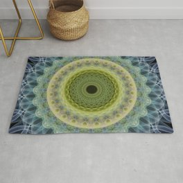 Mandala  in blue and green tones Rug