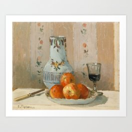 Camille Pissarro - Still Life with Apples and Pitcher (1872) Art Print