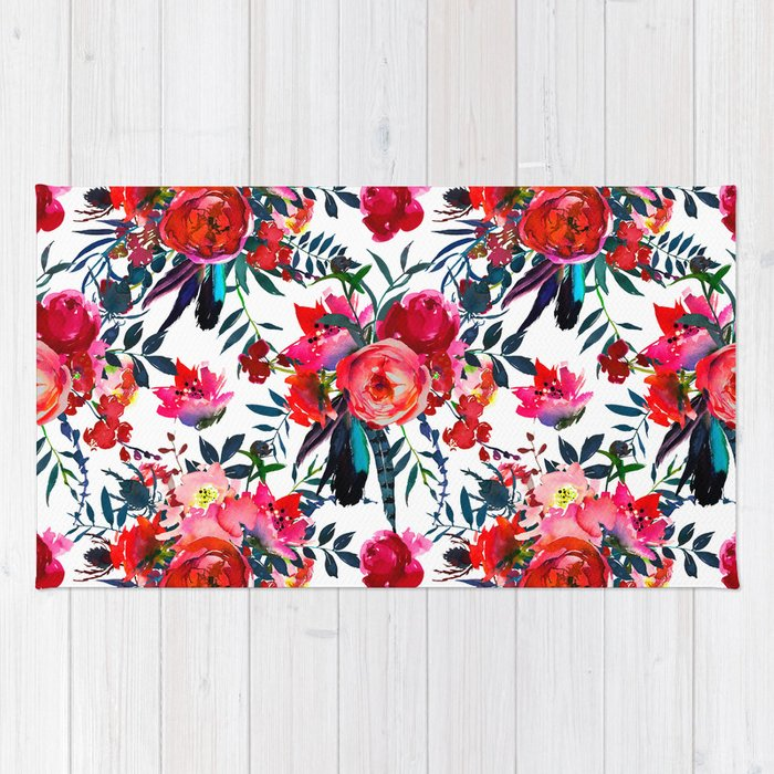 Pink Red Teal Watercolor Hand Painted Floral Rug By Pink