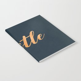 Hustle Text Copper Bronze Gold and Navy Notebook