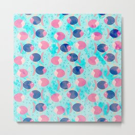 Colorful neon pink navy blue turquoise watercolor nautical fish pattern Metal Print