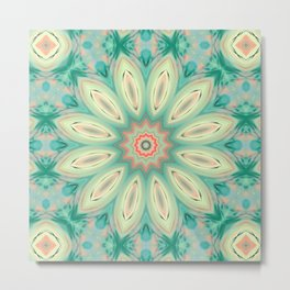 Daisy. Ornament bright turquoise . Metal Print