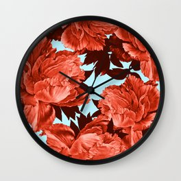 the big vermilion rose Wall Clock