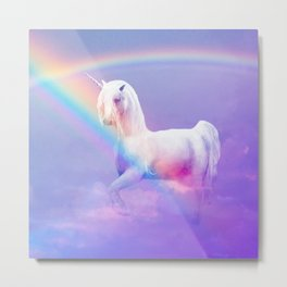 Unicorn and Rainbow Metal Print