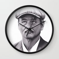 bill murray Wall Clocks featuring Drawing of Bill Murray by Brittni DeWeese