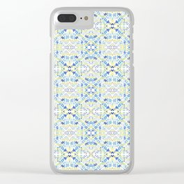 Blue dashes and diamonds Clear iPhone Case