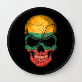 Dark Skull with Flag of Lithuania Wall Clock