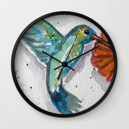 Sweet Flower Humming Bird in Watercolor Wall Clock