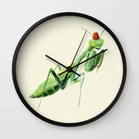 fez Wall Clocks featuring Mantis with a Fez by Olivia Gulin
