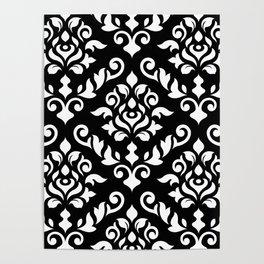Damask Baroque Pattern White on Black Poster