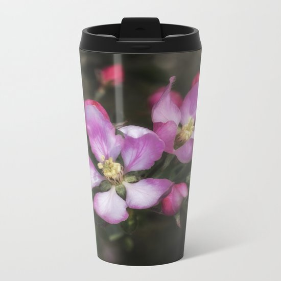 Pink Apple Blossoms Metal Travel Mug