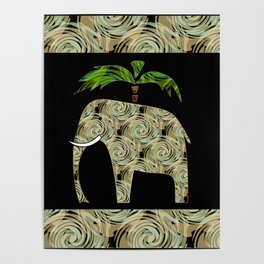 Elephant under a palm tree . Poster