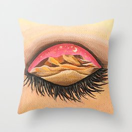 Pink sky invites you to the real world Throw Pillow