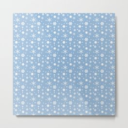 Airy Blue and White Snowflakes Winter 2016 Holiday Pattern Metal Print