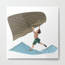 Free climbing rocks overhead steep wall Metal Print