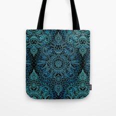 Black & Aqua Protea Doodle Pattern Tote Bag